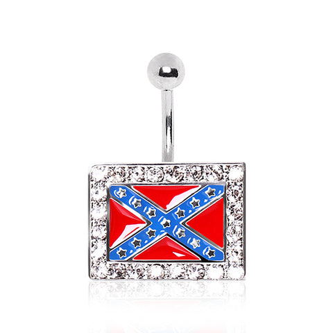 316L Surgical Steel Rebel Flag Navel Ring with Glass/Gems