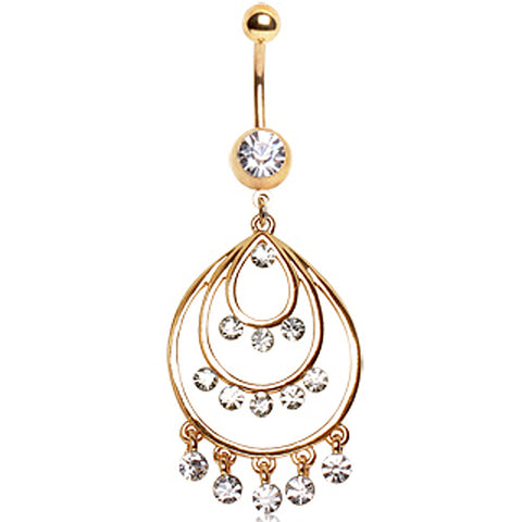 18Kt Gold Plated Navel Ring with 3 Tier round Chandelier