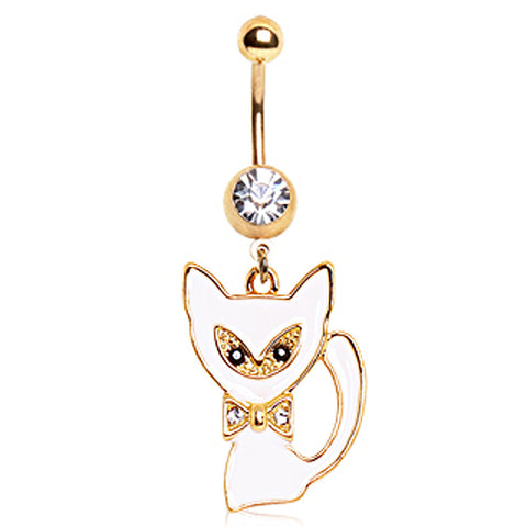 Gold Plated White Cat Navel Ring