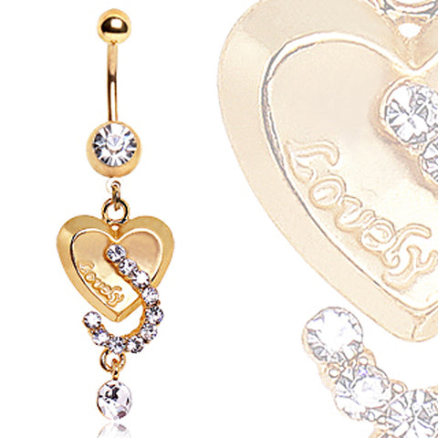 Gold Plated Lovely Heart Navel Ring