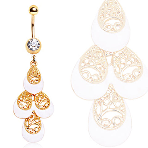 Gold Plated White & Gold Multi-Tiered Tear Drop Navel Ring