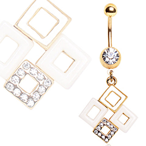 Gold Plated Linked Boxes Navel Ring
