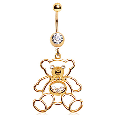 Gold Plated Big PaPa Bear Navel Ring