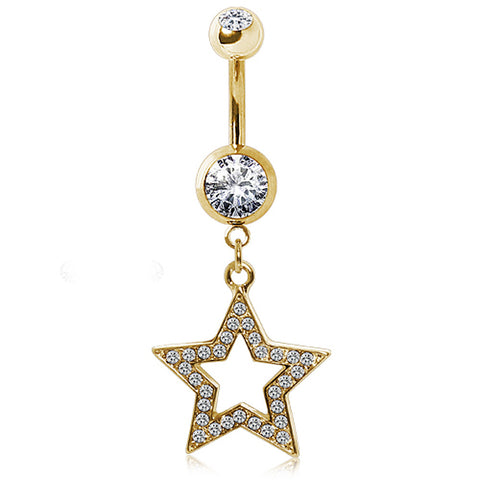 Gold-Plated 316L Surgical Steel Glass/Gemmed Star Navel Ring
