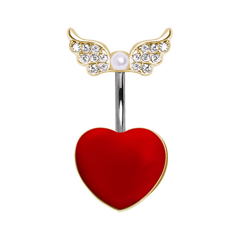 316L Red Heart Navel Ring with Soaring Gold-Plated Glass/Gemmed Wings and Pearl