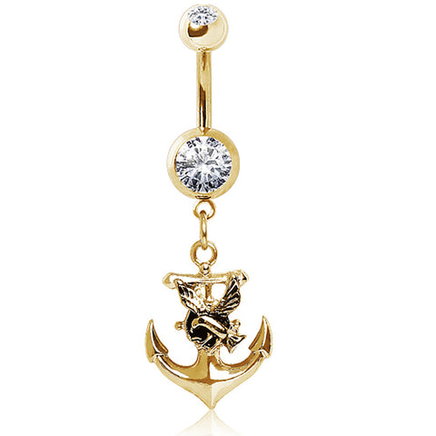 Gold Plated 316L Glass/Gemmed Navel Ring with Anchor and Seagull Dangle