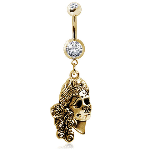 Gold Plated 316L Glass/Gemmed Navel Ring with Undead Siren Dangle