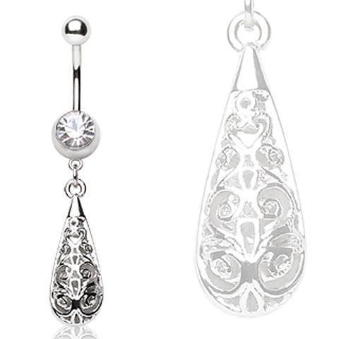 316L Surgical Steel Navel Ring with Water Drop Shaped Dangle
