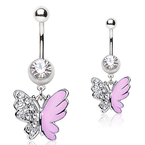 316L Surgical Steel Navel Ring with Two Tone Butterfly Shaped Dangle