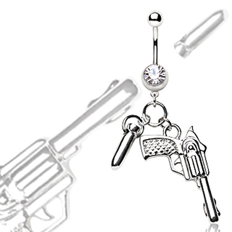 316L Surgical Steel Navel Ring Pistol and Bullet Dangle
