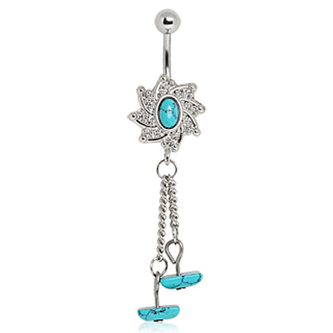 316L Surgical Steel Navel Ring with Turquoise Dangle