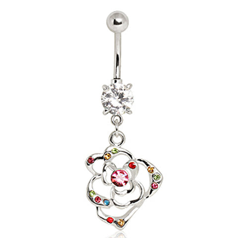 316L Surgical Steel Multi-Color Flower Navel Ring