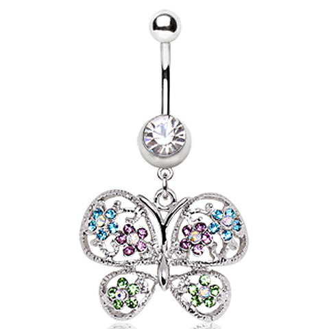 316L Surgical Steel Fancy Butterfly Navel Ring