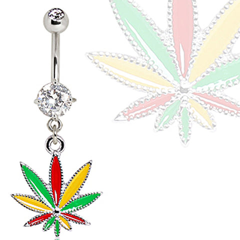 316L Surgical Steel Rasta Pot Leaf Navel Ring