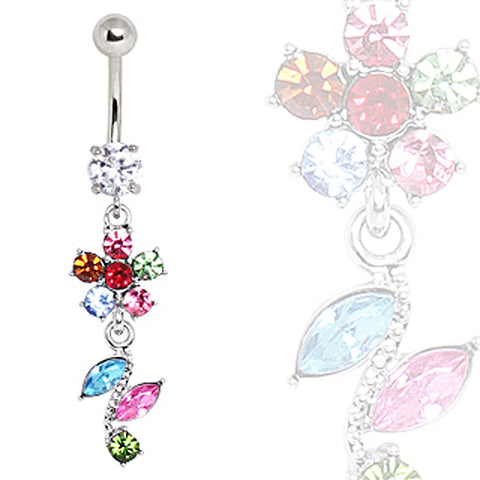 316L Surgical Steel Multi-Color Flower & Leaves Navel Ring