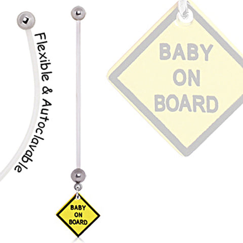 BioFlex Baby On Board Sign Pregnancy Navel Ring