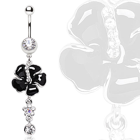 316L Steel Black Hibiscus syriacus with Glass/Gem Dangle Navel Ring