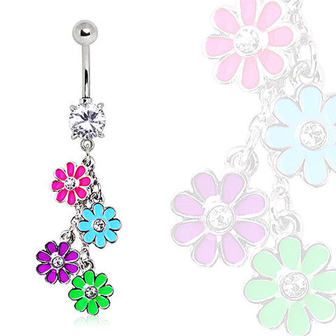 316L Navel Ring with Multi Color Daisy Dangle