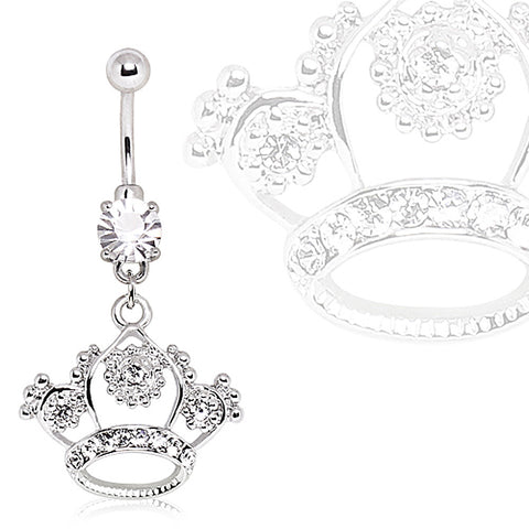 316L Surgical Steel Navel Ring with Princess Crown Dangle