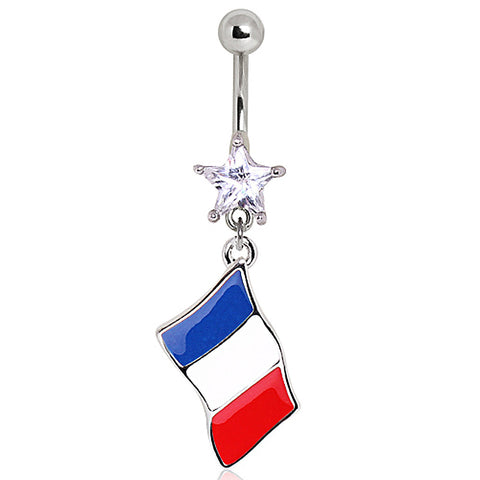 316L Surgical Steel France Flag Navel Ring