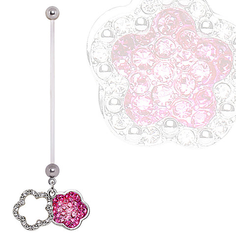 BioFlex Double Layer Flower Dangle Pregnancy Navel Ring