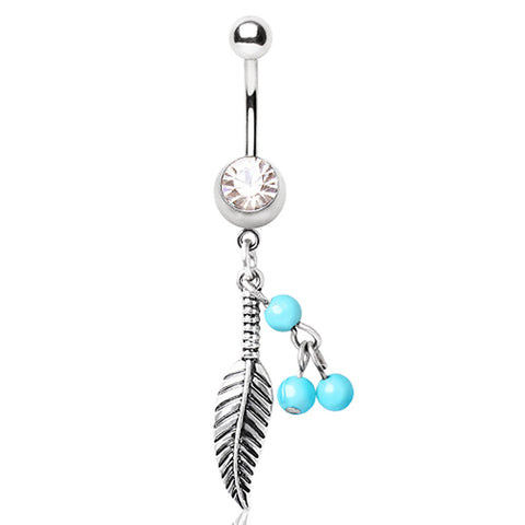 316L Surgical Steel Navel Ring with Feather and Bead Dangle