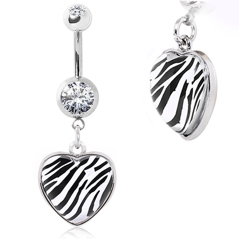 316L Surgical Steel Navel Ring with Zebra Print Rounded Heart Dangle