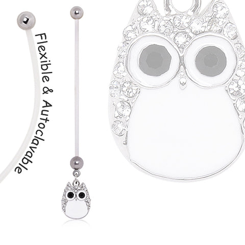 BioFlex Pregnancy Navel Ring with White Owl Dangle