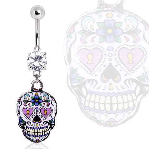 316L Surgical Steel Glass/Gemmed Navel Ring with Pale Purple Sugar Skull Dangle