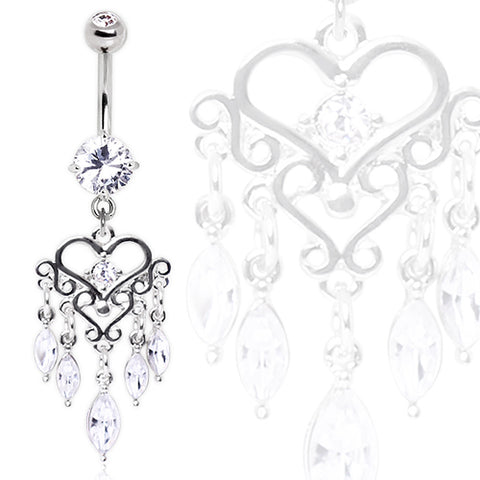 316L Surgical Steel Glass/Gemmed Chandelier Heart Dangle Navel Ring
