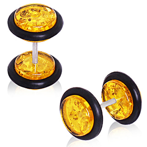Synthetic Amber Fake Plug with O-Rings
