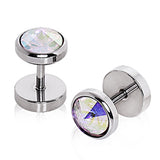 "316L Surgical Steel Faceted CZ Fake Plug - 16GA Aurora Borealis L:1/4"" - Sold as a Pair"