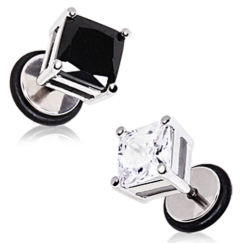 "316L Surgical Steel Square Shape CZ Stone Fake Plugs - 16GA Black L:1/4"" B:8mm - Sold as a Pair"