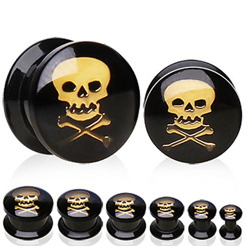 UV Coated Acrylic Plug with Skull Logo - 6GA Skull - Sold as a Pair
