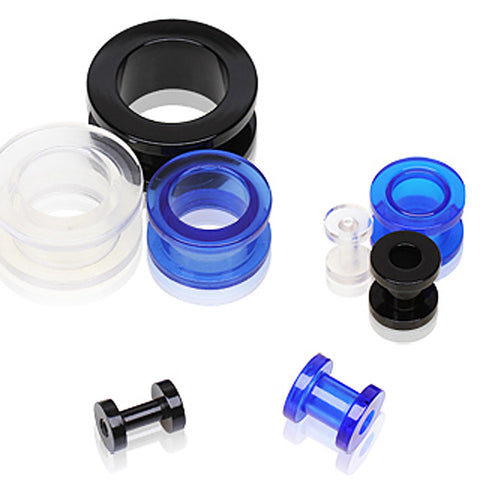 UV Coated Acrylic Screw Tunnel Plug - 2GA Black - Sold as a Pair