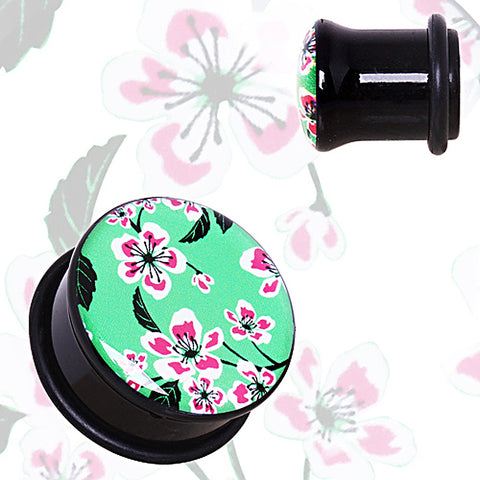 "Green UV Acrylic Oriental Flower Blossom Single Flare Plug with O-Ring - 5/8"" - Sold as a Pair"