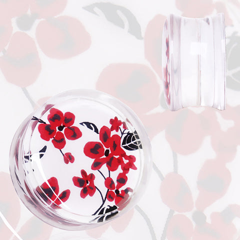 "Clear Acrylic Red and White Floral Print Saddle Plug - 9/16"" - Sold as a Pair"