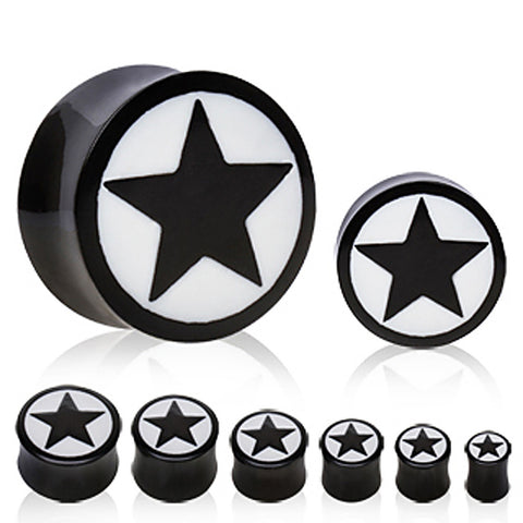 Buffalo Horn Solid Plug with Star Design - 2GA - Sold as a Pair