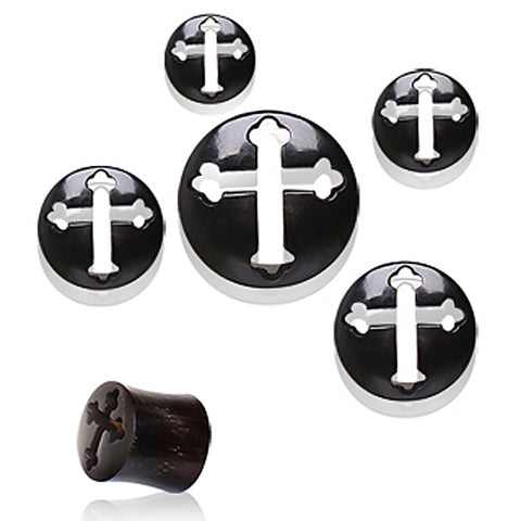 "Buffalo Horn Tunnel Plug with Celtic Cross Design - 5/8"" - Sold as a Pair"
