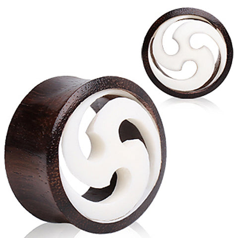 "Buffalo Horn Solid Plug with White Shuriken Design - 1"" - Sold as a Pair"