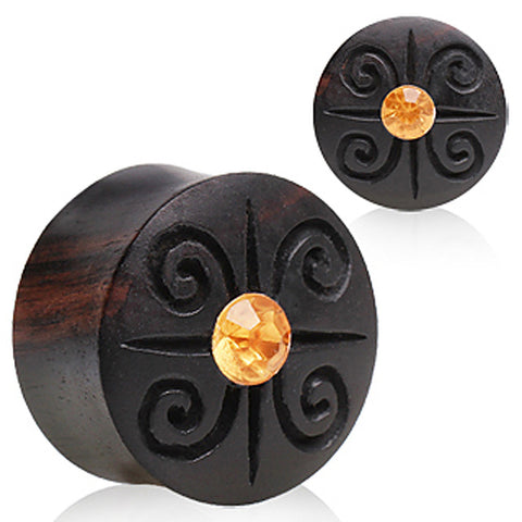 "Solid Aarang Wood Plug with Spiral Designs and a Glass/Gem at the Center - 1"" - Sold as a Pair"