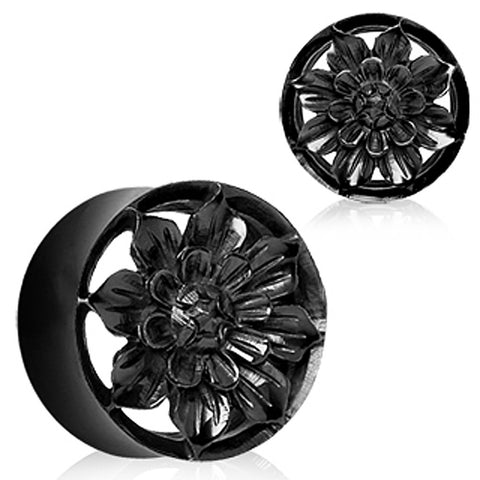 Organic Black Buffalo Horn Flesh Tunnel Plug with Carved Dahlia Flower - 0GA - Sold as a Pair