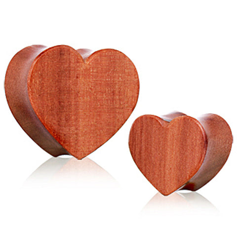 Organic Red Cherry  Wood Heart Saddle Plug - 00GA - Sold as a Pair