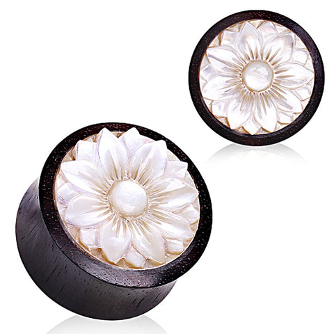 Organic Sono wood with Mother of Pearl Lotus Plug - 00GA - Sold as a Pair