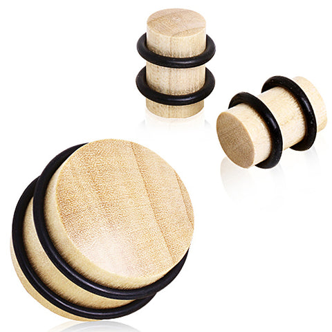 Crocodile Wood Solid Plug with O-rings - 2GA - Sold as a Pair