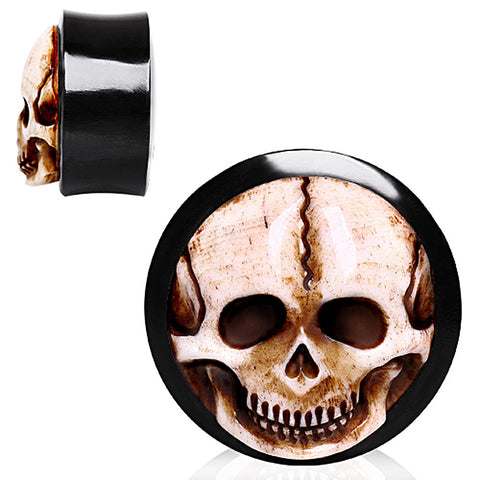"Organic Horn Saddle Plug with Bone Skull Inlay - 3/4"" - Sold as a Pair"
