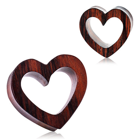 "Organic Sono Wood Heart Tunnel Plug - 5/8"" - Sold as a Pair"