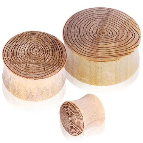 "Crocodile Wood Saddle Plug with Engraved Wood Grain Motif - 1"" - Sold as a Pair"
