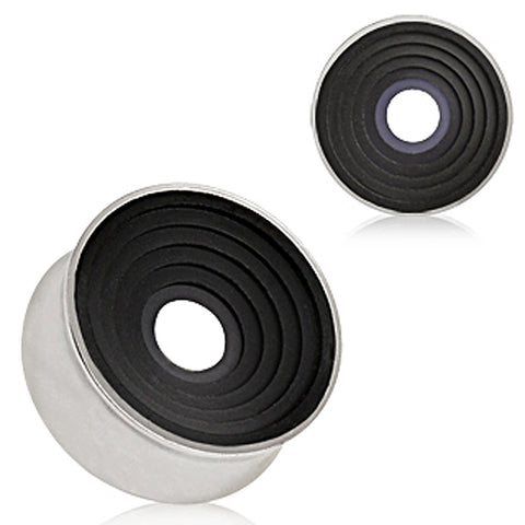 "316L Surgical Steel Saddle Plug with Black Ring Grooved Inlay - 9/16"" Black - Sold as a Pair"