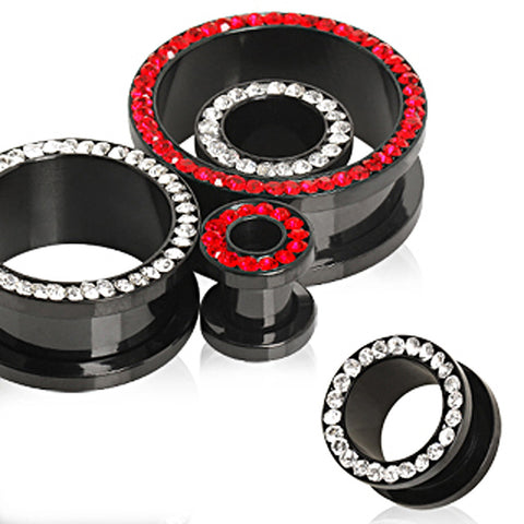 Black PVD Plated Multi CZ Screw Fit Tunnel Plug - 00GA Red - Sold as a Pair